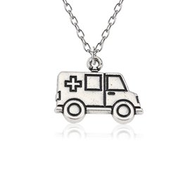 Wholesale DIY Punk Medical Pendants Cross Ambulance Car Necklaces Pendants Unisex Silver Choker Jewelry For Doctor Nurse Gift