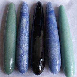 $enCountryForm.capitalKeyWord Australia - Smooth straight natural obsidian and green ,blue aventurine quartz crystal carved majic body foot leg neck massager wands for healing