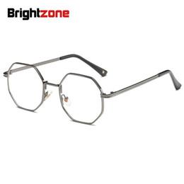 Myopia Glasses Mens Australia - Brightzone 2018 New Polygon Blue Light Blocking Glasses Brands Frame Simulatrix Restore Glass Myopia Metal Eyewear Titanium Mens