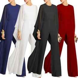 blue long sleeves women jumpsuit Canada - Women Jumpsuits Long Pants Romper Chiffon Ruffle Flare Long Sleeve Party Jumpsuit Black Red White Blue Wide Leg Jumpsuit Evening Outfits