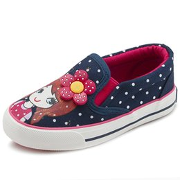 Princess Canvas Shoes NZ - Girls Canvas Shoes 2018 New Spring Children Flats Polka Dot Fashion Kids Sneakers Denim Girls Princess Shoes Casual Footwear 25-31