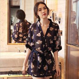 $enCountryForm.capitalKeyWord NZ - Sexy Women Short Chiffon Style V-Neck Floral Bathrobe Kimono Plain Dressing Gown Bridal Party Robe Sleepwear Lingerie Nightdress