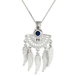 AromAtherApy fAns online shopping - Silver Fan Shapes Filigree Bohemian Essential Oils Diffuser Locket Women Aromatherapy Beads Pearl Cage Necklace Pendant Boutique gift