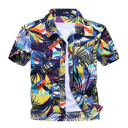China Men Shirt Casual Summer Palm Tree Print Beach Hawaiian Short Sleeve Hawaii Chemise Homme Camisa Masculina Mens Clothing cheap hawaii clothes suppliers