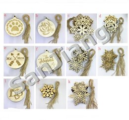 Gift Craft Christmas Ornament Australia - 10pcs Lot New Arrival Christams Ornaments Decoration For Wooden Snowflake Piece Word Love Arrow Hanging Pendant With Strap Xmas Gifts Crafts