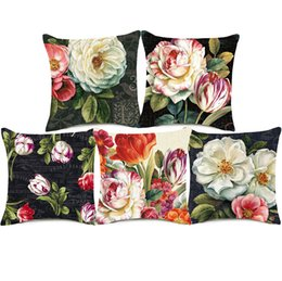 Chinese  Camellia Tulip Cushion Covers 8 Styles Rose Flower Oil Painting Linen Pillow Cover 45X45cm Bedroom Sofa Decoration manufacturers