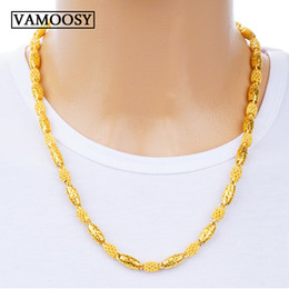 Wholesale Fine K gold Men Necklace Chains Fashion design Gold Color hollow Long Necklace Chain Charm collares male custom Jewelry