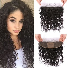 Silk Base Baby Hair Australia - 13x4 Ear to Ear Silk Base Frontal with Baby Hair Natural Black Burmese Human Hair Water Wave Lace Frontal FDshine