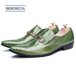 $enCountryForm.capitalKeyWord NZ - 2018 Designer Italian Green Genuine Leather Men Shoes Fashion Pointed Toe Slip on Men Dress Shoes Party Business Formal Shoe Plus Size 38-47