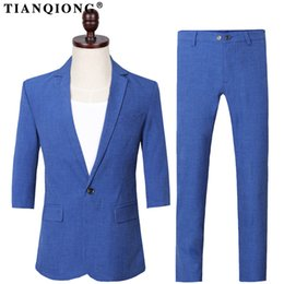 4e49fc26496 Men s half pants online shopping - TIAN QIONG New Summer Casual Blue Single  Breasted Suit