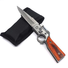 China Small AK47 Gun Knife Steel Blade Wood Handle Army Pocket Folding Knife Tactical Camping Outdoors EDC Tool Survival Knives With LED light supplier wood handle folding knives suppliers