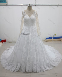 $enCountryForm.capitalKeyWord NZ - Princess Lace Wedding Dress Cathedral Train Long Sleeves 2018 White Or Ivory High Quality Bridal Gown Bride Wear Dress For Bride