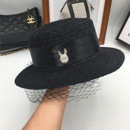 Black Blocks Australia - Aristocratic temperament female god web yarn block face straw hat straw hat elegant flat brim European and American fashion