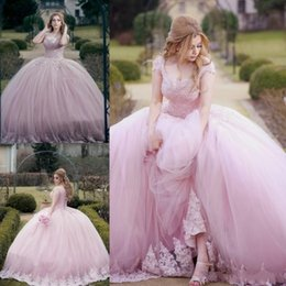 Wholesale 2018 Pink Quinceanera Ball Gown Dresses Scoop Neck Cap Sleeves Lace Beads Pearl Corset Back Sweep Train Puffy Tulle Party Prom Evening Gowns