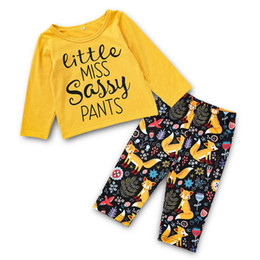 Clothing Boutique Suits Australia - Baby Girls Letter Tops+Fox Pants Suits Spring Fall 2018 Kids Boutique Clothing Euro America Hot Sale Little Girls Long Sleeves 2 PC Set