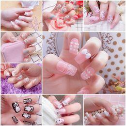 Cute aCryliCs nails online shopping - 3D Fake Nails Cute French False Nails Middle long Full Nail Tips Bride Nail Art Tool Nail Makeup