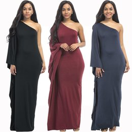 casual purple one shoulder dress 2019 - Middle East Muslim Long Dresses with One Shoulder Ruffles Long Sleeves Sheath Floor Length Party Dresses Maxi Dress disc
