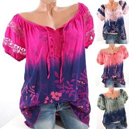 $enCountryForm.capitalKeyWord Australia - 2018 Summer Hot Sale V Neck Flower Print Women T Shirt Lace Short Sleeve Cotton T-shirt For Women Size S-5XL 9 Colors