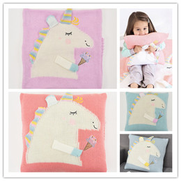 $enCountryForm.capitalKeyWord NZ - Free Shipping Unicorn Children's Pillow Case New Baby Knit Pillowcase sheet Pillow Covers Weeping Kid Pillow Sheath