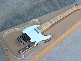 Led Lighting eLectric guitar online shopping - Factory Acrylic Electric Guitar with White Pickguard Maple Fretboard with Colorful LED lights can be customized