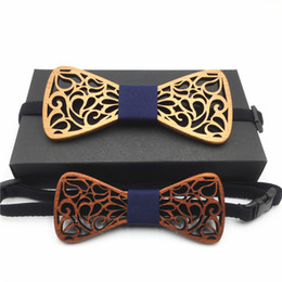 $enCountryForm.capitalKeyWord Canada - Hollow Wood Bow Ties for Men and son set Wedding Suits Wooden Bow Tie Butterfly Shape Bowknots Gravatas Slim Cravat men's tie
