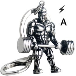 $enCountryForm.capitalKeyWord Australia - Dumbbell Strong Man Keychain Workout Fitness Key Chains For Car Wallet Keys Weight Plate Pendant Men Sports Hip Hop Jewelry