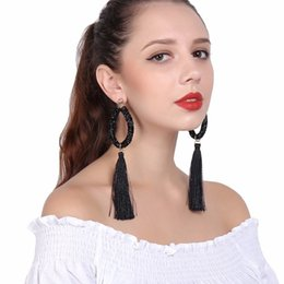 $enCountryForm.capitalKeyWord UK - Ethnic Exaggerated Long Tassel Dangle Earrings for Women Geometric Rhinestone Leather Hose Drop Earrings Fashion Jewelry