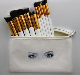 goat hair dhl Australia - HUDA Professional makeup brushes 10 Pieces makeup brush set+ leather Pouch DHL Free shipping
