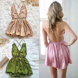 Women Fashion Jumpsuit Australia - Fashion Women Sexy Sleepwear Style Jumpsuit Rompers Sleeveless Strapless Lace Elastic Waist Trousers 3 color