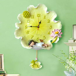 $enCountryForm.capitalKeyWord Canada - 14inch Farmhouse style Creative lotus leaf angel wall clock Cartoon silent clock Resin Painted Swing pendant