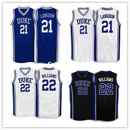 e6b9826d3 Cheap  22 Jay Williams  21 Trajan Langdon Duke Blue Devils Basketball Jersey  blue white Embroidery Stitched Personalized