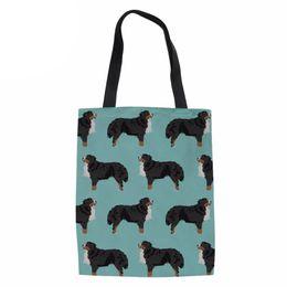 Forudesigns Cute Animal Corgi Print Large Womens Shopping Bags Women Reusable Shopper Bags Tote Canvas Shoulder Bags For Girls Shopping Bags Functional Bags
