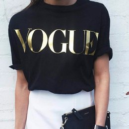 $enCountryForm.capitalKeyWord Canada - Fashion t shirts for women t-shirt gold VOGUE letter women Short Sleeve Crew Neck graphic tees Casual Womens tops 2017 New NV08 RF