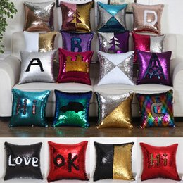 Sequin Pillow Case Cover Mermaid Pillowcase Bling Magic Reversible Glitter Car Sofa Cushion Cover Xmas Christmas Gifts on Sale