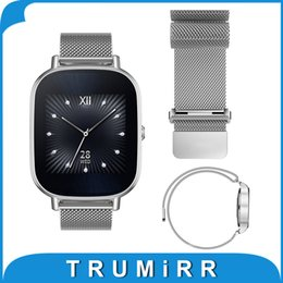 Discount pebble steel band - Wholesale- 22mm Milanese Loop Band Magnetic Buckle Strap for ASUS Zenwatch 2 LG G Watch W100 W110 W150 Pebble Time Stain