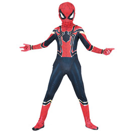 Chinese  Boys Halloween Nano steel spiderman muscle style Cosplay suits 2018 New Kids Avengers Superhero costume cosplay clothes+mask 2pcs sets B manufacturers