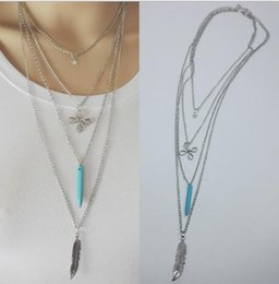 $enCountryForm.capitalKeyWord NZ - free shipping Fashion vintage turquoise Chinese knot star feather multi-layer necklace sweater chain fashion classic delicate