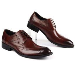 384b5eb4ea4 Carved Breathable Designer Brand Man Formal Dress Shoes Vintage Genuine  Leather Cow Brogue Oxfords Men s Wing Tip Flats EH32