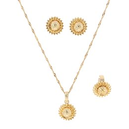 arab ring 2019 - Ethiopian Set Jewelry Pendant Necklace Earrings Ring Gold Color African Bridal Wedding Jewellery Arab discount arab ring