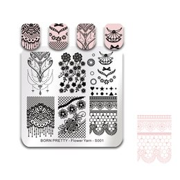 stamp square NZ - BORN PRETTY Flower Lace Stamping Template Bride Nail Art Stamp Plate Square Manicure Tools Nail Stamping Plates Flower Yarn S001