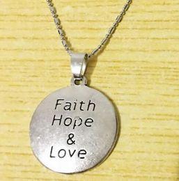 Discount faith hope love pendants - 10pc lot pendant necklace Faith Hope Love Necklace Inspirational Awareness Survivor Graduation Birthday Gift drop shippi
