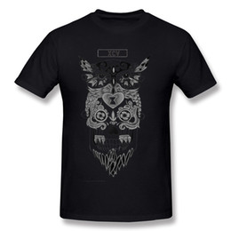owl men shirt NZ - Wholesale Men 100% Cotton Candy Owl Candy Skull Tee Shirts Men O Neck Black Short Sleeve T Shirt Plus Size Unique Tee Shirts