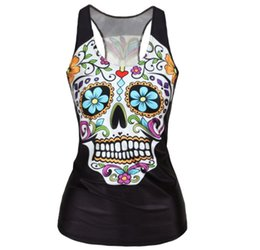 Chinese  Compression Sports Tank Tops Running Vest Female Skull Printed Yoga Gym Tops Fitness Sleeveless Shirt Workout Jersey For Women manufacturers