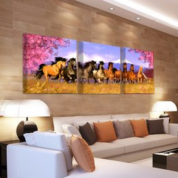 Painting horses modern art online shopping - 3 Panel Canvas Painting Horse Canvas Print Art Modern Home Decor Wall Art Picture For The Living Room O0703