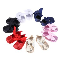 Glitter Bling Baby Australia - Baby First Walkers Bow Bling Prewalker Process Shoes With Big Bow Fashion Bling Baby Girls Glitter Pink Sequins Non-slip