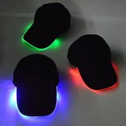 $enCountryForm.capitalKeyWord NZ - Glowing LED Light Hat Black Cotton for Adult Baseball Caps Luminous Adjustment Size Xmas Party Peaked Casquette Batteries Men Women