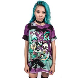 Wholesale alien clothing for sale - Group buy Women s T Shirt Short Sleeve Color Print Tops Halloween Costume Spoof Alien Print Top Clothing Fashion T shirt streetwear