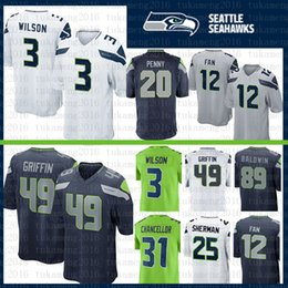 Best Seattle Seahawks 49 Shaquem Griffin 12 12th Fan 12s Jersey Wilson 31  Chancellor 25 Sherman 20 Rashaad Penny 29 Thomas 16 Tyler Lockett d90bbcd24