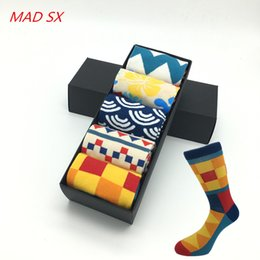 Fun Knee Socks Canada - 5 pair lot men Colour crew cotton happy socks European fashion style Men's Casual socks harajuku designer man Fun trendy