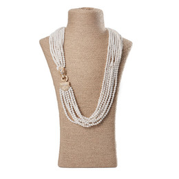Multilayer Chains NZ - Women White Pearl Beads Necklace Jewelry Chain Pearl Necklaces Multilayer Necklace For Women Men Jewelry P008